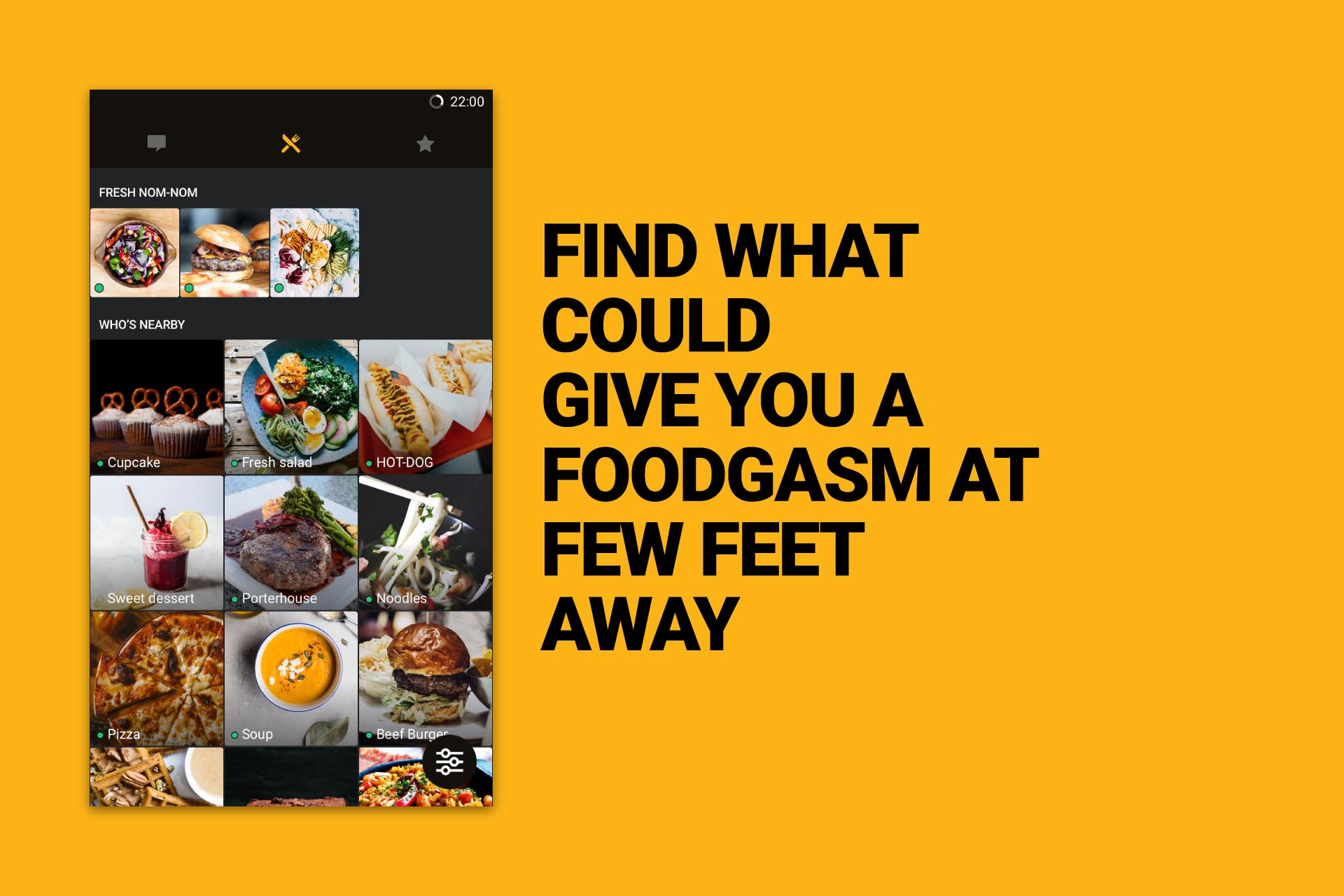 Grindr feel showing profile of delicious food instead of men