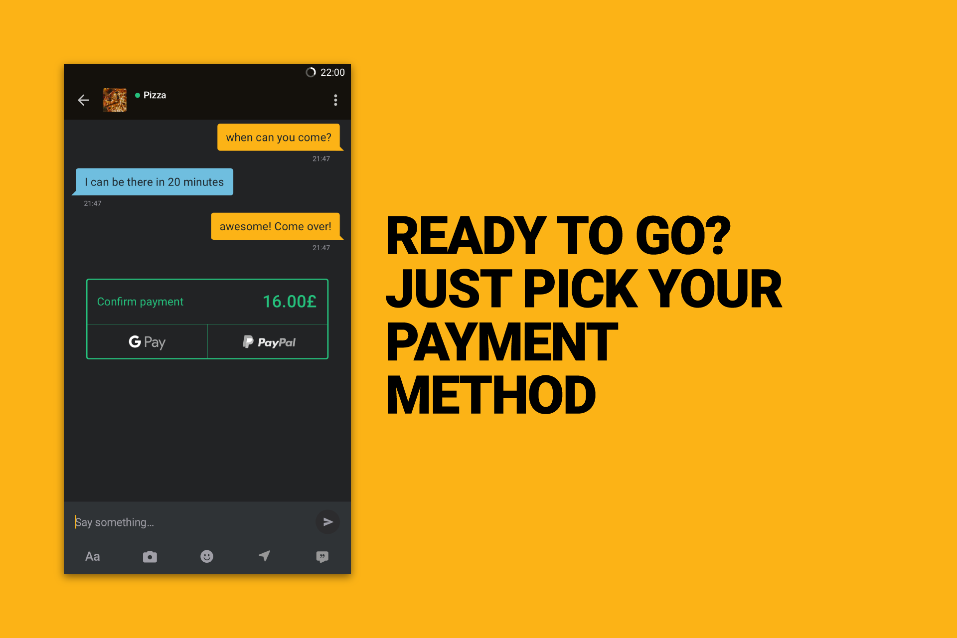Confirm payment method to purchase